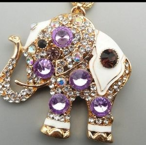 New purple elephant necklace